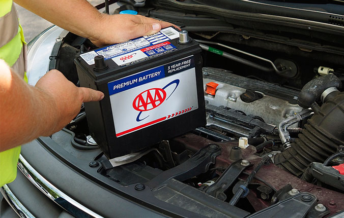 AAA Mobile Battery Service - AAA tech replacing car battery